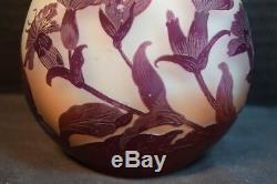 Galle Cameo Art Vase En Verre Cabinet Avec Des Fleurs