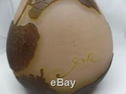 Galle Signé Antique Cameo Art Vase En Verre Avec Des Insectes & Design Botanique