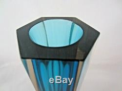 Géométrique Italienne Murano Bleu Vase En Verre D'art À Facettes En Forme Hexagonale Rose