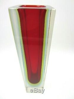 Géométrique Vase Bloc Murano Facettes Bleu Rouge Et Brillant Verre Art Sommerso Vert