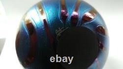 Gorgeous Iridescent Art Vase Hand Soufflé Par Jim Norton Artiste Canadien Du Verre