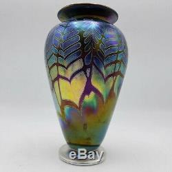 Graham Muir Signé Vase En Verre D'art Avec Une Plume Tirée Design 6.5 Grand