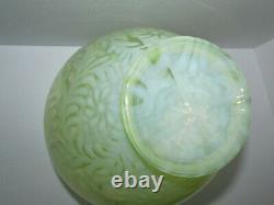 Grand 11,5 Fenton Topaz Vase En Verre Opalescent Daisy Et Fern Art 903