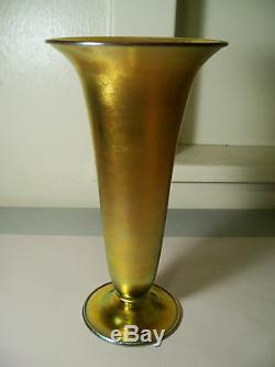 Grand 12 Grand Antique Signé Steuben 2909 Vase Aurene Art Américain En Verre Doré