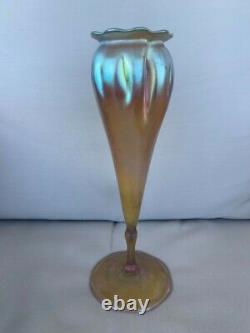 Grand Antique Iridescent Tiffany Art Nouveau Vase Art Verre Favrile Américain