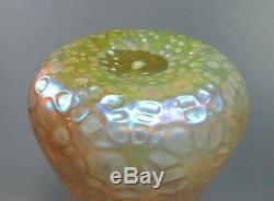 Grand Antique Loetz Iridescent Martele Décor Art Vase En Verre Vers 1898 13 Grand