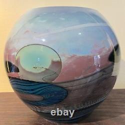 Grand John Lewis Signé Art Glass Moon Vase Nice Labino Chihuly