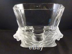 Grand Lalique Venise Double Lion Français Art Glass Vase Bowl Perfection