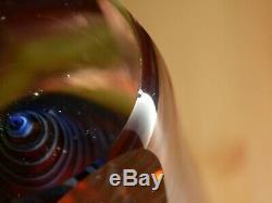Grand Murano Sommerso Art Facettes Vase Avec Spiral Flavio Poli Italien