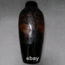 Grand Vase D'argental Paysage Paul Nicolas Art Nouveau Scénique Français Verre Camée