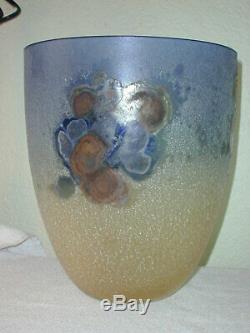 Grand Vase En Verre Art Vintage Alfredo Barbini Murano Scavo / Bol Signé Des Années 1960