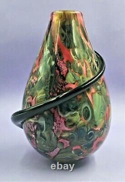 Grand Vase En Verre D'art Robert Eickholt Avec Spirale Appliquée Signée, Daté De 2000