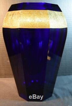 Grand Vase En Verre Frisé De Grand Style Moser Art Deco, Bleu De Cobalt Et Or