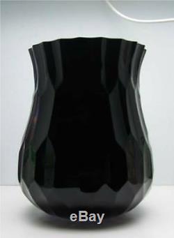 Grand Vase En Verre Taillé Noir Et Améthyste, Miroir Moser Bohemian Art