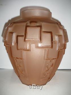 Grand Vase Géométrique Charles Schneider En Verre Art Déco Français Des Années 1920 - 1930
