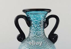 Grand Vase Murano Avec Poignées En Bouche Turquoise Verre Soufflé D'art, 1960