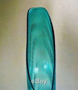 Grand Vase Swung De 28 Mi-siècle, Mi-smith, Aqua, Bleu, Art, Cliché, Verre