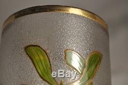 Grand Vase Verre Emaille Art Nouveau Antique Ancien Émaillé Verre Gui
