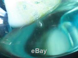 Grand Verre Art Mdina Lollipop Cut Ice Vase Bleu & 1970`s Sable