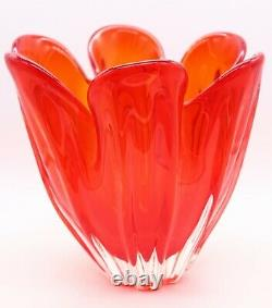 Grand Verre D'art Rouge Vase En Verre Libre MCM MID Century Murano Iwatsu 60s