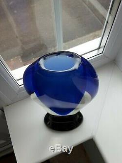 Grand Verre D'art Vintage Murano Pieds Sommerso Bleu Et Vert Vase C1960 De