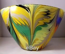 Grand Vintage Beau Bol / Vase En Verre Multicolore Art De Murano Signé