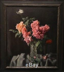 Grande Fin 20ème Siècle Fleurs Nature Morte Rose Et Roses Rouges En Verre Peinture Vase