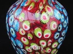 Grande Taille Murano Glass Art Libre Formation Millefiori Murrine Vase Avec Étiquette