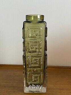 Grandes Whitefriars Verre Clé Grec Vase Rare Sage Vert Couleur Verre D'art Parfait