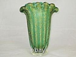 Green Cordonato D'oro Art Fan Vase De Verre Murano Barovier Toso Sommerso Or 24k