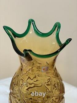 Hank Adams Blenko Ananas Vase Blown Art Glass 13