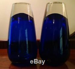 Heavy Vases En Verre Bleu Cobalt, Paire De 2 Formes D'art Fonctionnel Modernes Du Milieu Du Siècle
