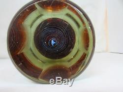Immense Lourd Murano Studio Art Glass Vase Facettes Spiral Moderniste Artiste Italien