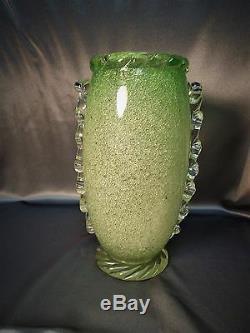 Important Rare Vintage Murano Bolicine Pulegoso Art Vase En Verre Vert Venini Era