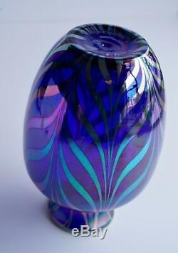 Irisé Art Glass Vase Cobalt Fenton Design Dave Fetty Limited Edition 9 H
