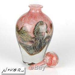 Jean Claude Novaro Main Soufflé Verre Sculpture Vase Bouteille De Parfum Paysage