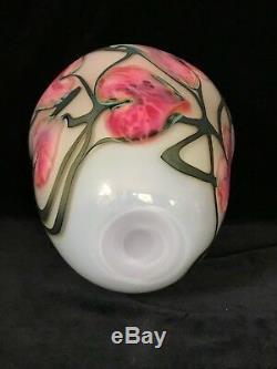 John Lotton Art De Verre Vase 10.2, Rose Au Sol Tubé Irisées, Signé, 1990
