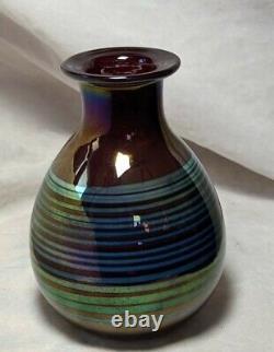 Josh Simpson 1977 Signé Art / Studio Vase En Verre Iridescent Pas De Réserve