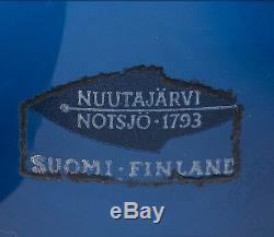 Kaj Franck Art Vase En Verre + Bleu 2 Bowl Signe K. Franck Pour Nuutajärvi Finlande