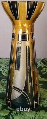 Karl Palda Art Deco Era Tchèque Ambre Noir Frossé Étage Magnifique 1 De 1 Vase