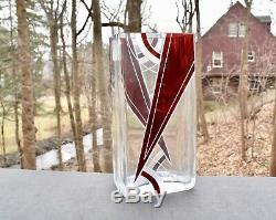 Karl Palda Art Déco Géométrique Bohème Émail Cristal Taillé Vase Bergdorf Goodman