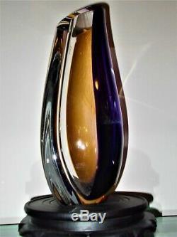 Kosta Boda Art De Verre Orchid Vase Sculpture 12 Nouveau-g Signe Warff