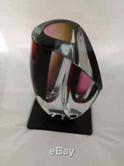Kosta Boda Mirage Grand Vase Goran Warff Nouveau Dans La Boîte D'art En Verre Rouge Bordeaux Gris