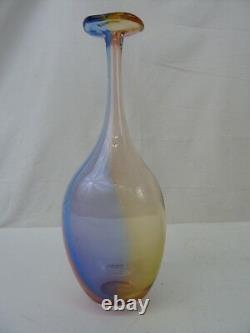 Kosta Boda Signé Kjell Engman Tall 11 Fidji Art Blue Glass Bottle Vase Withbox