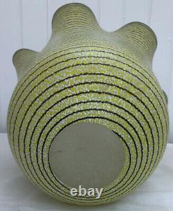 Kosta Boda Vase Décoratif En Verre D'art En Grand Mouchoir À Volant Rayé Jaune