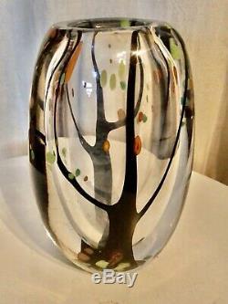 Kosta Boda Vicke Lindstrand Lu Vintage MCM Tree Art Autumn Leaves Verre Vase 50