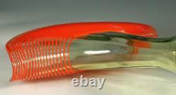 Kralik Tchèque Fan Vase Vert Uranium Verre Et Orange Années 1920-années 30 Threading Art Deco