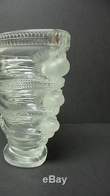Lalique Clair Et Cristal Givré Saint Marc 6.5 Vase En Verre Art