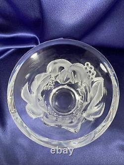 Lalique France Signé Art Verre Raisins De Cristal Vigne Saumur Vaserare