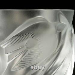 Lalique Martinets Signé Verre D'art Vase En Cristal Givré Clair Oiseaux Élevés 9.5